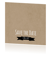 Save the Date kaart label kraft