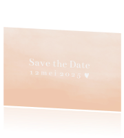 Save the date kaart peach hartje