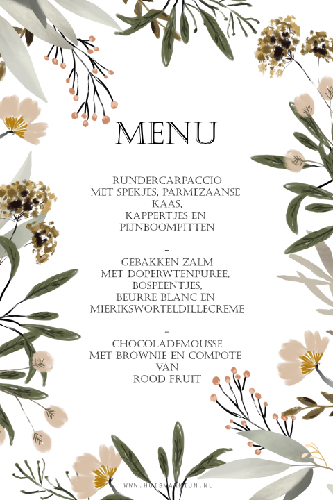 Menu kaart watercolor bloem