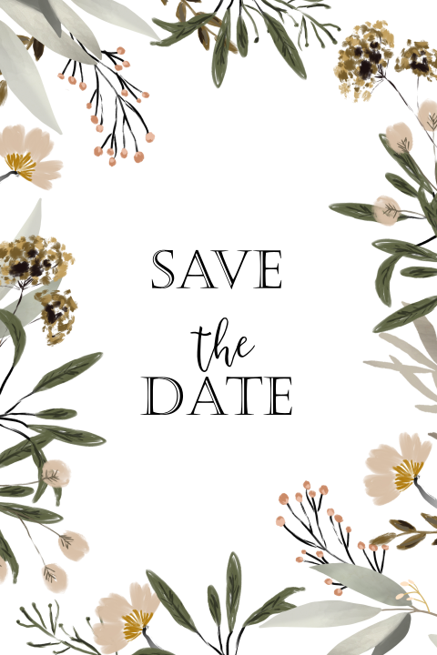 Save the Date kaart watercolor bloem