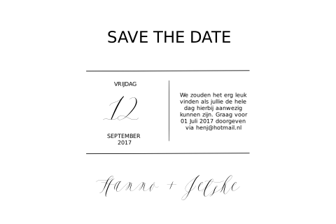Save the Date kaart Chique Typografie
